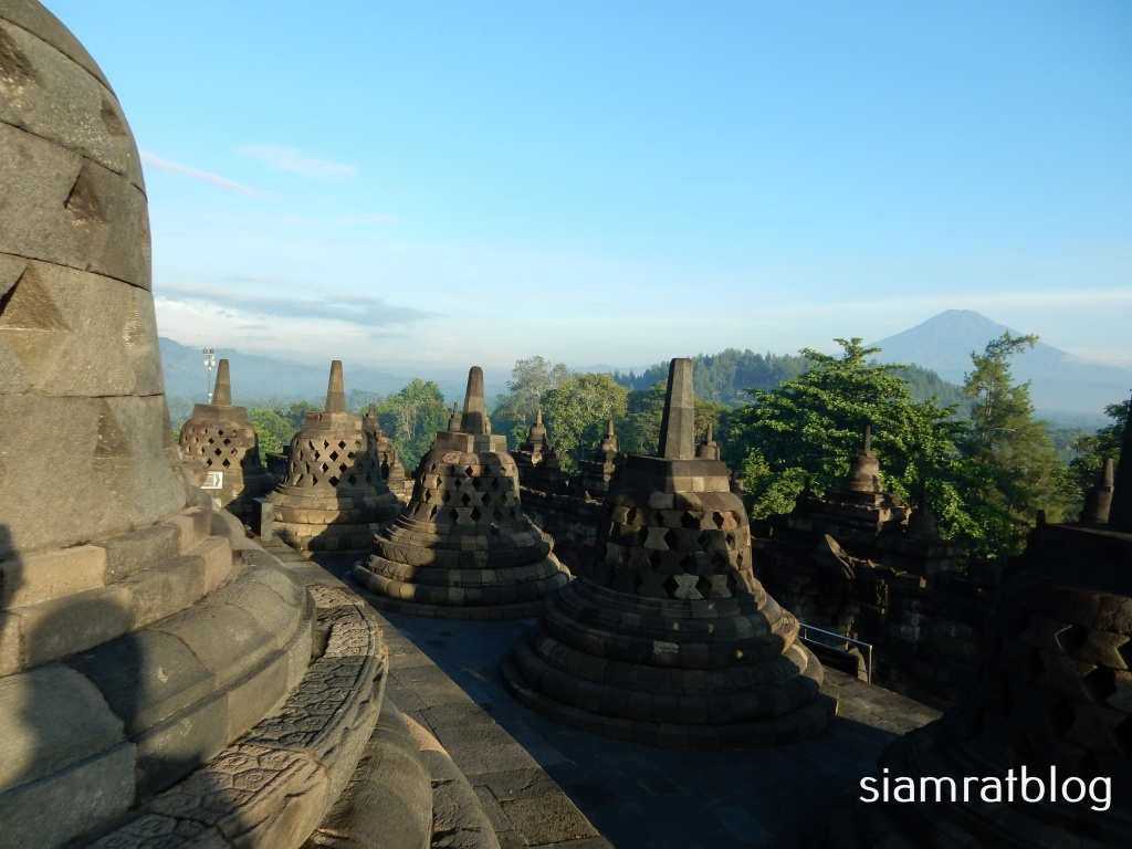view of volcano from Borobudur