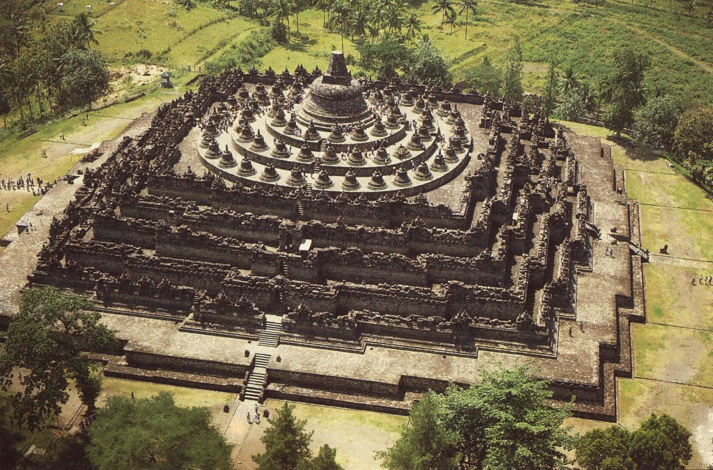 aerial photo of borobudur