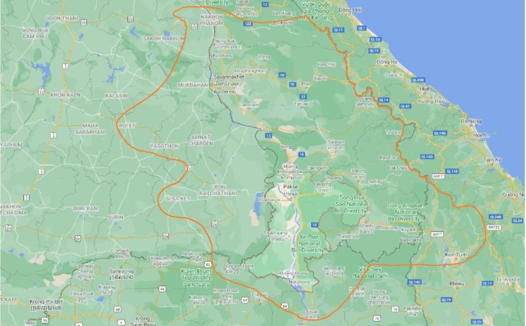 map of champasak