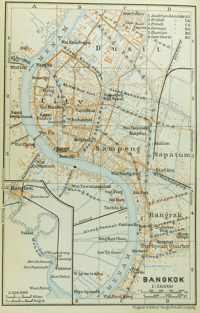 old map of bangkok