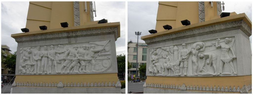 two bas-reliefs of soldiers